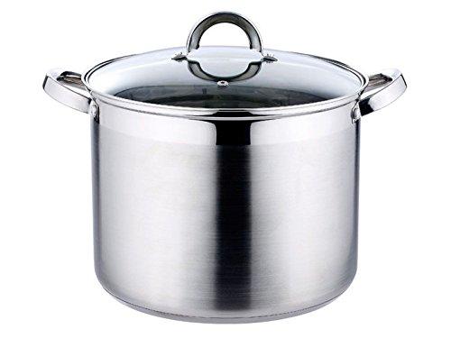 Roestvrijstalen inductie kookpan 15 liter glazen deksel 30 x 23 cm (koepan met glazen deksel, grote pan, stoomgaat)