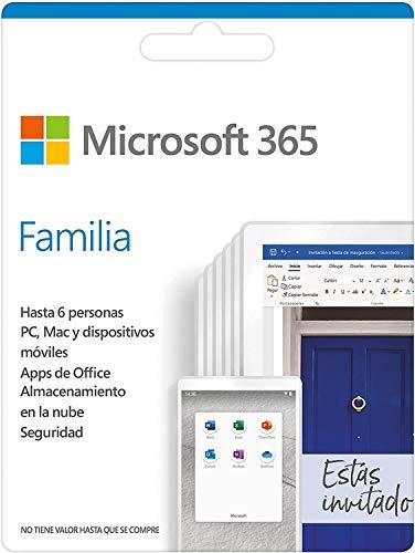 Microsoft 365 Familia | Suscripción anual o mensual | Para 6 PCs o Macs, 6 tabletas incluyendo iPad, Android, o Windows, además de 6 teléfonos | Box