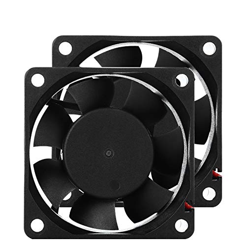 60mm 12V PC Case Fan - PANOMOUNTS CF6025 High Airflow 60mm 25mm 12V 2Pin Vent Cooling Fan Low Noise 5500RPM 2-Pack