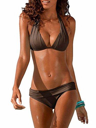 Ybenlover Damen Halter Push Up Bikini Set Neckholder Bandeau Sexy Badeanzug,Kaffee,M