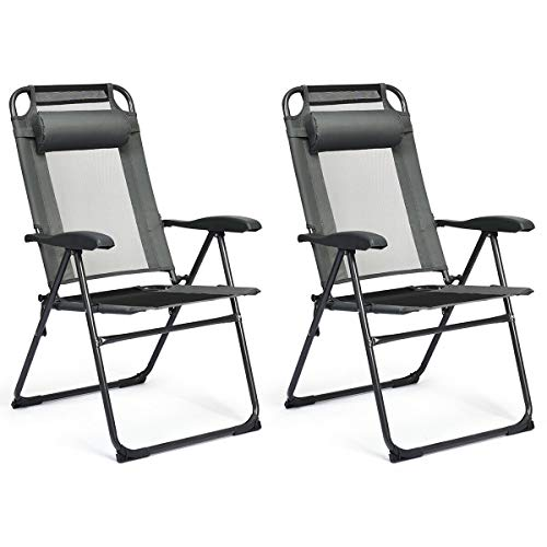 Compact Design Adjustable Folding Recliner Chairs Gray 2 PCS with Ebook