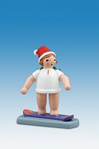 Engelfiguur kerstengel op snowboard met muts hoogte ca. 6 cm NIEUW houten gel kerstengel Ertsgebergte hout