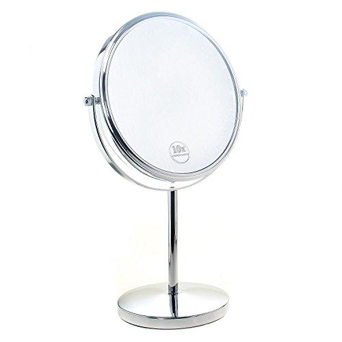 """TUKA Cosmética Espejo 5X Aumento, ø 20cm Espejos para baño, espejo de mesa para Afeitar y Maquillar, 8"""" Espejo 360 ° de rotación, con cara Doble: Estándar 1:1 + 1:5 Ampliación. TKD3108-5x"""