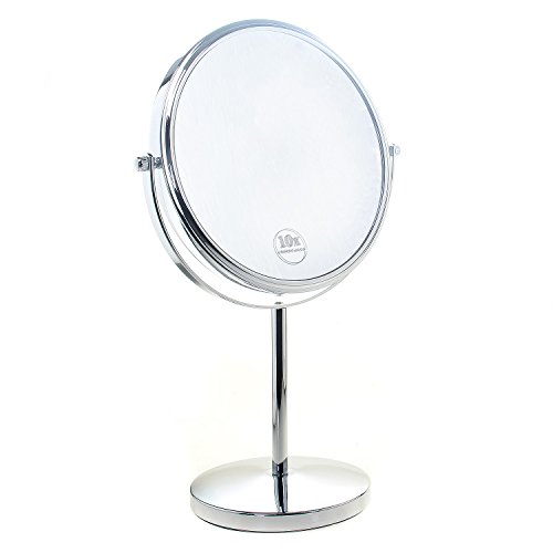 """TUKA Specchio Bagno per Trucco 10X Ingranditori, 8\"""" Doppio Specchio Cosmetico con Piedistallo, ø 20 cm Specchio da Tavolo per Trucco e Rasatura, 2 Facciate Vanity Mirror, Cromato, TKD3108-10x"""