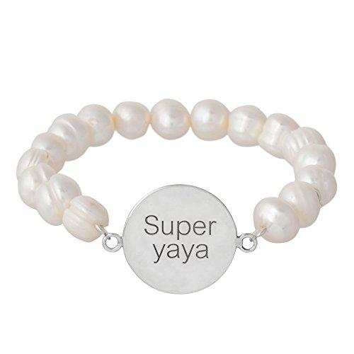 Córdoba Jewels | Pulsera en Plata de Ley 925 bañada en rodio con diseño Super Yaya Perla