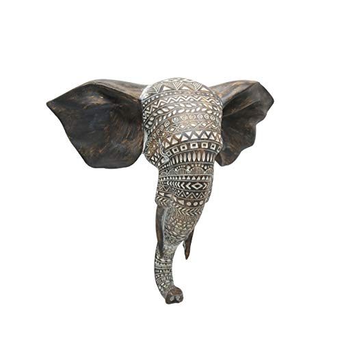 Otartu African Elephant Wall Bust Sculpture 11' Tall Carved Noble Elephant Head Hanging Wall Decor Art Wooden Color (Elephant)
