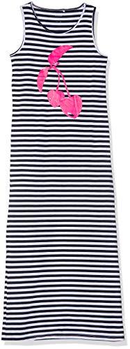 NAME IT NOS Mädchen NKFVIPPA SL Maxi Dress NOOS Kleid, Weiß (Bright White Print: Cherry), Herstellergröße: 158