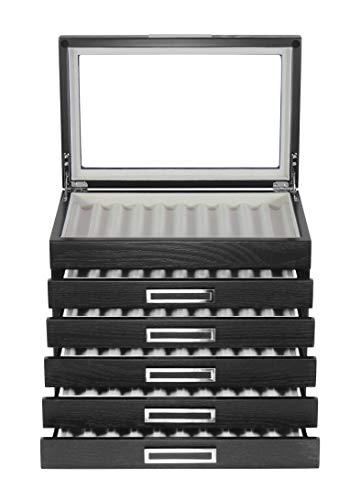 60 Piece Black Ebony Wood Pen Display Case Storage and Fountain Pen Collector Organizer Box with Glass Window Six Level Display Case with Drawers Father's Day Gift