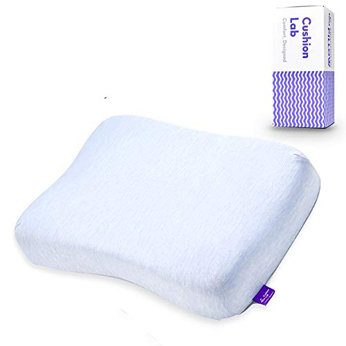 Cushion Lab Extra Dense Cooling Gel-Infused Memory Foam Contour Pillow for Back, Stomach & Side Sleepers - Ergonomic Orthopedic Cervical Pillow for Sleeping Neck Relief, Firm Neck Support, CertiPUR US