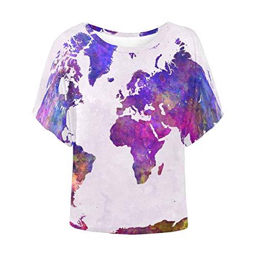 INTERESTPRINT Women's Short Sleeve Casual Blouse Tops T-Shirt Batwing Shirt Watercolor World Map XXXL