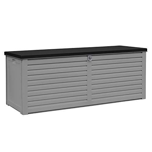 AIRWAVE Outdoor Plastic Garden Storage Box 103Gal/390L - Plastic Storage Bench (144 x 54 x 57cm)