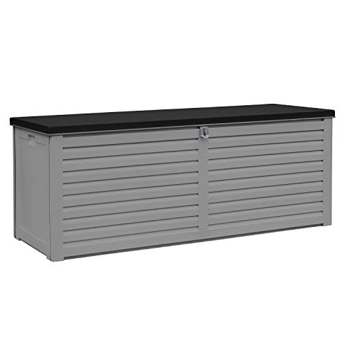 AIRWAVE Outdoor Plastic Garden Storage Box 390L - Plastic Storage Bench (144 x 54 x 57cm)