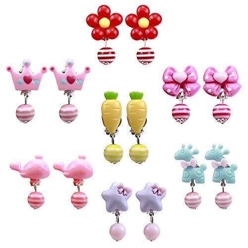 Natuce Clip Ohrringe Set für Kinder Mädchen, 7 Paare Mädchen Spiel Ohrringe, Dress up Prinzessin Schmuck Zubehör für Geburtstag Party Geschenk Spielzeug Verpackt in transparenten Boxen (Cartoon)