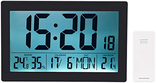 infactory LCD Uhr: XL-Funkuhr mit Doppel-Wecker, Thermo-/Hygrometer, Tag, Datum, schwarz (Funkuhr-Wanduhr Wohnzimmer lautlos)