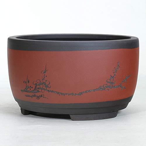 Thwarm Maceta de cerámica redondo Grande Mediana y Pequeña Bonsai planta de maceta macetas de Bonsai plantador de cerámica china Home-decoración for con forma de tambor DIY-Crafts Cuenca Ventilación e