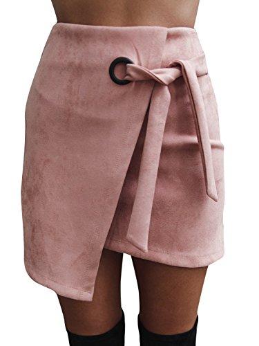 Melegant Damen Herbst Asymmetrischer Rock Mini Leder High Waist Eng Skrit mit Schlitz Winter Rosa