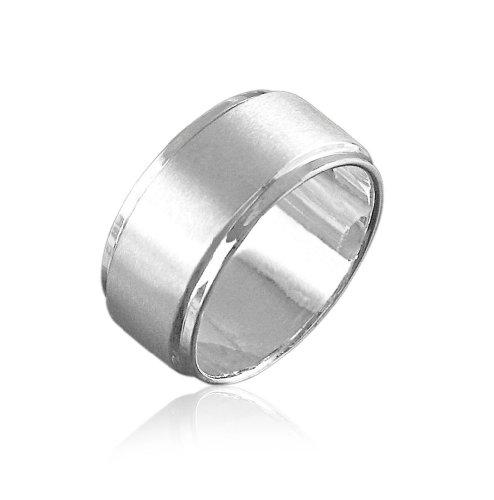 Vinani Herren Ring zwei Bänder mattiert glänzend breit klassisch zeitlos Sterling Silber 925 Männer Größe 60 (19.1) RIB60
