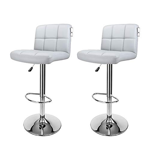 Display4top Taburetes de Bar, con Estructura cromada, sillas giratorias de 360 Grados, Acolchadas Blandas, Juego de 2 (Gris)