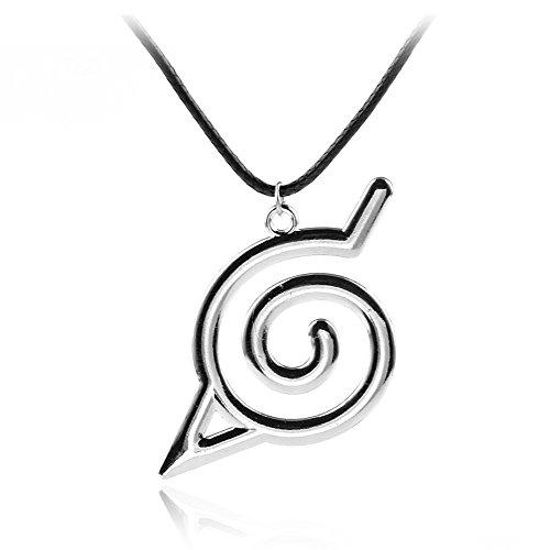 OfficialOtaku Konoha Leaf Village Symbol Charm Pendant Necklace - Silver/Metal (0.4 oz)
