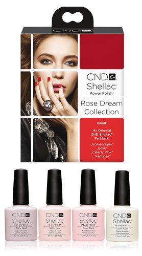 CND Shellac UV/LED polaco, Romantique/Beau/claramente rosa/Negligee 7,3ml–pack de 4