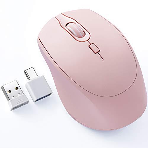 TopMate Ratón inalámbrico Office Silent Mouse 2.4 G para portátil con adaptador de tipo C, 3 niveles ajustables, ratón ergonómico para ordenador portátil, PC, Windows, Mac OS-rosa
