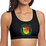 Hangdachang Reggiseno Sportivo per Donna,Stemma Siciliano,Canotte Yoga Crop Top Allenamento Fitness Reggiseno da Corsa L