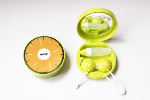 Kontaktlinsenbehälter Aufbewahrungsbehälter Etui Set Spiegel Früchte Obste NEU (Orange)