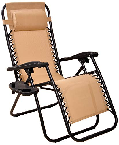 BalanceFrom Adjustable Zero Gravity Lounge Chair Recliners for Patio, Beige, Beige