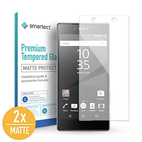 smartect Mattes Panzerglas kompatibel mit Sony Xperia Z5 [2X MATT] - Displayschutz mit 9H Härte - Blasenfreie Schutzfolie - Anti Fingerprint Panzerglasfolie