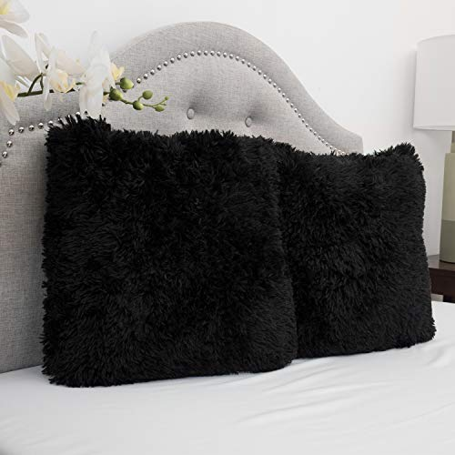 Sweet Home Collection Plush Pillow Faux Fur Soft and Comfy Throw Pillow (2 Pack), Black