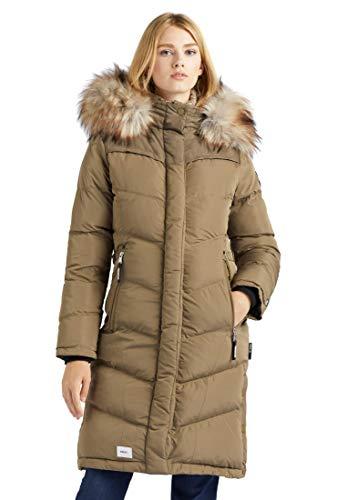 khujo Płaszcz damski LUBECK LONG4 pikowany płaszcz z kapturem sztuczne futro długie ciepłe watowane