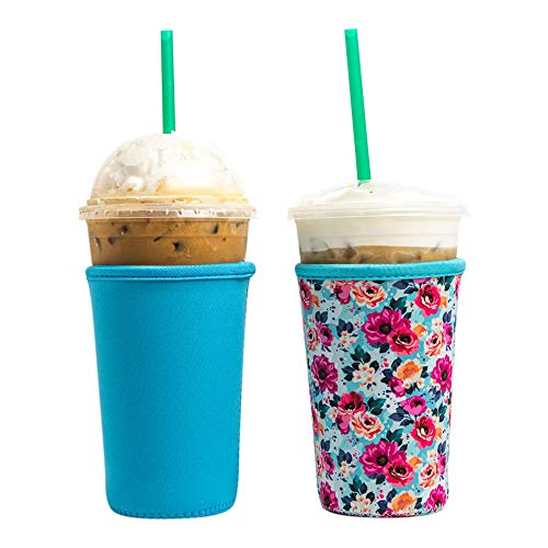 Baxendale Iced Coffee Sleeve for Medium Sized Cups - 2 Pack - Neoprene Iced Coffee Sleeve - Cup Sleeves for Cold Drinks Reusable Compatible with Starbucks, Dunkin