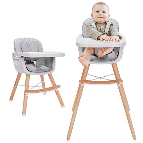 Mallify 3-in-1 Baby High Chair with Adjustable Legs, Tray -Gray Color Dishwasher Safe, Wooden High Chair Made of BPA-Free Plastic, Sleek Hardwood & Premium Leatherette, Ideal for Small Apartment