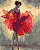 Pintura por Números Chica en vestido rojo Bricolaje Pintura al óleo para Colorear por números en Lienzo de Lino decoración de Arte de Pared 16x20 Inch sin Marco -HYS195