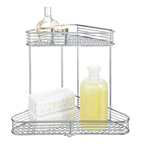 Price comparison product image iDesign Vienna Corner Bathroom,  2-Tier Metal Cosmetic,  Wire Storage Shelves for Makeup,  Matte Black,  Steel,  Silver,  One Size