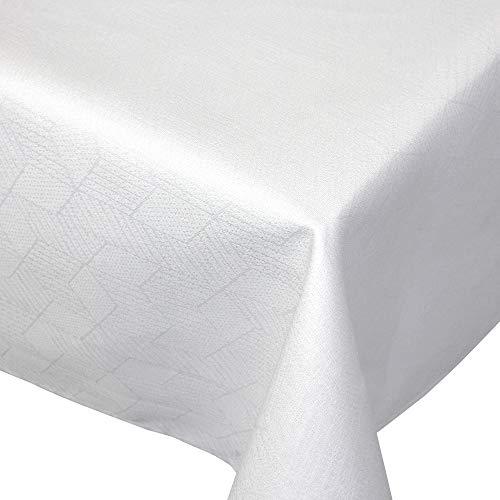 Nappe rectangle 150x300 cm Jacquard 100% coton CUBE blanc