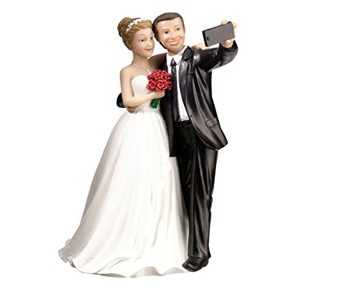 Lillian Rose F988 Funny Selfie Bride & Groom Wedding Cake Topper, Multicolor