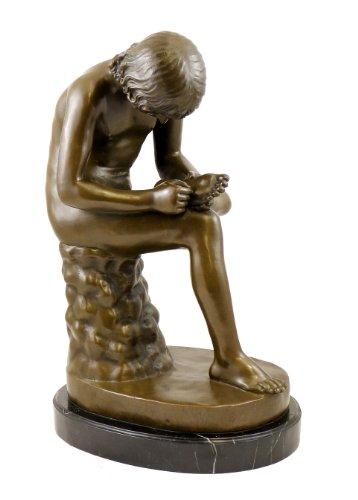 Spinario Bronzeskulptur - Der Dornauszieher Skulptur - signiert Milo - Antikes Motiv der Bildenden Kunst - Jugendstil Bronzefigur