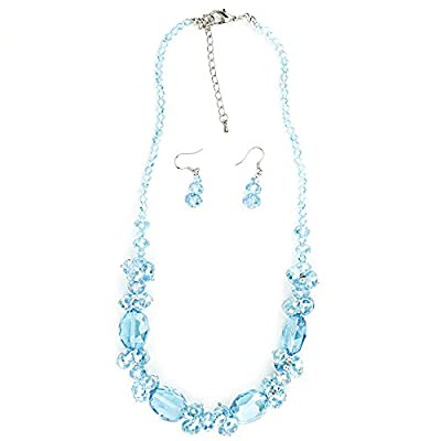 Glittering Crystal Beaded Necklace with Matching Earrings