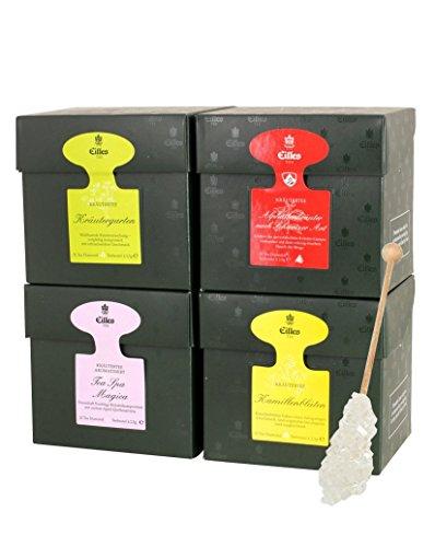 EILLES Kräuterwelt Tea Diamond 4er Set mit Kräutertee und Gourvita Moments Kandisstick