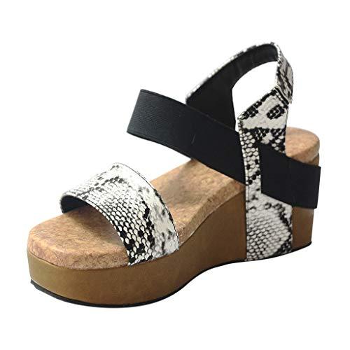 Sandalen Keilabsatz Damen RöMisch Schlange Korn Offener Zeh Kunstleder Strappy Schuhe Plattform