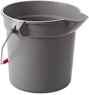 Rubbermaid Commercial Products 3.5 Gallon BRUTE Heavy-Duty, Corrosive-Resistant, Round Bucket, Gray (FG261400GRAY)