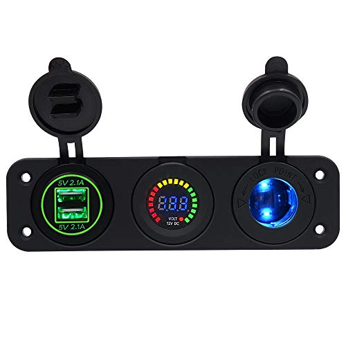 USB y voltaje del coche Adaptador del zócalo de alimentación del coche del encendedor de cigarrillos del coche, cargador de coche a prueba de agua con carga rápida de 12V dual USB con voltímetro LED,