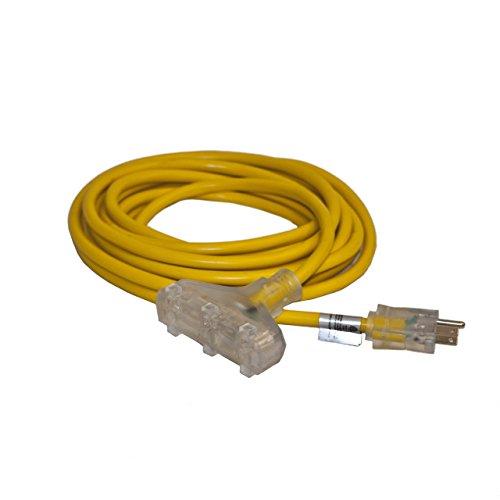 ALEKO EC12G3P25 Heavy Duty Indoor Outdoor Extension Cord with Triple Lighted Tap ETL Certified SJTW Plug 12/3 Gauge 125 Volt 25 Feet Yellow