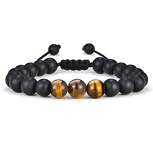 M MOOHAM Mens Bracelet Matte Agate - Natural Tiger Eye Black Matte Agate Stone Mens Anxiety Bracelets, Adjustable Tiger Eye Bracelet Thank You Gifts for Him for Men