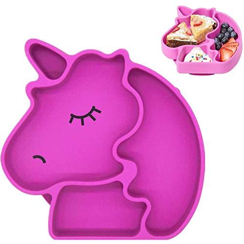 Piatto per bambini in silicone,Disegno unicorno Piatto bambino in silicone con ventosa antiscivolo. Materiale sicuro senza BPA,adatto per microonde e lavastoviglie.