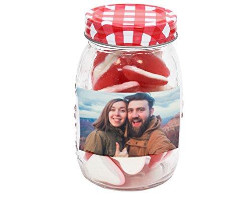 Bote de chuches gigante de vidrio personalizado con tu foto o texto