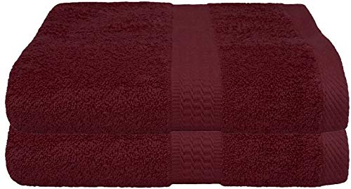 2er Pack Frottier Saunatuch, Saunatücher Set 80x200 cm 100% Baumwolle in 15 modernen Farben Bordeaux