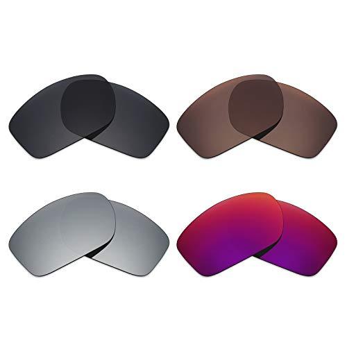 Mryok 4 Paar Gepolariseerde Vervangende Lenzen voor Oakley Klep Nieuw 2014 Zonnebril - Stealth Zwart/Brons Bruin/Zilver Titanium/Midnight Sun