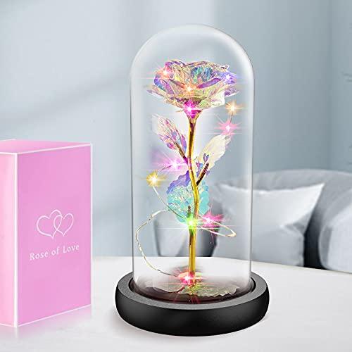 Gomyhom Artificielle Fleur Rose Cadeau, Rainbow LED Roses lumière dans Le Verre Accueil Décorations, Cadeaux personnalisés pour Maman, Femmes, Petite Amie, la Saint-Valentin, Anniversaire